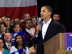 Barack Obama campaigning in Iowa