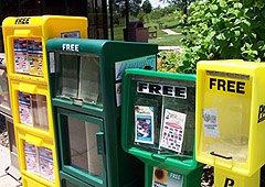 Free newspapers at Iowa reststop