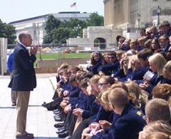 Iowa Senator Chuck Grassley talks with FFA members