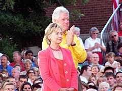 Bill and Hilliary Clinton during a July campaign stop in Iowa