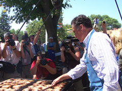 Mitt Romney cooking at the Iowa State Fair