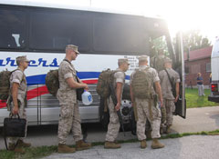 Iowa Marines board bus headed for training