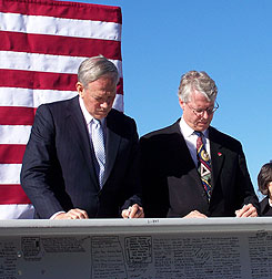 George Pataki, Des Moines Mayor Frank Cownie sign 9-11 memorial beams