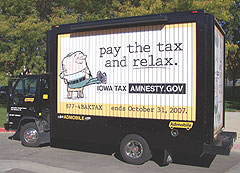 Vehicle used to advertise tax amnesty
