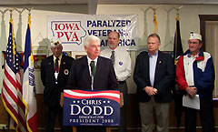 Democrat Chris Dodd talks about veterans issues