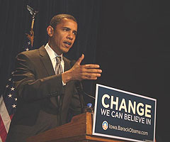 Barrack Obama during campaign in Iowa.