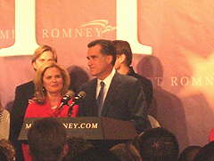 MItt Romney addresses crowd at his campaign headquarters