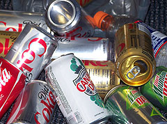 Cans ready for recycling.