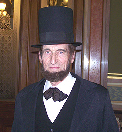 Stan De Haan of Newkirk portrays Abraham Lincoln