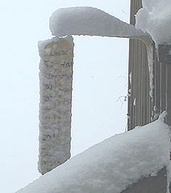 Snow covered thermometer