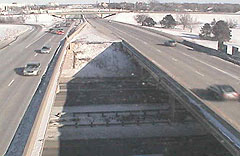 Traffic crosses over interstate bridges in Des Moines