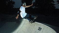 Bret Johnson on a skateboard