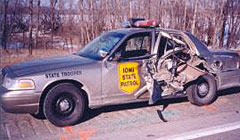 Damaged Iowa State Patrol car