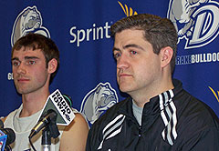 Drake coach Keno Davis (right) with Adam Emmenecker prior to the NCAA tournament.