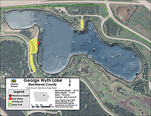 New contour map of George Wyth Lake near Waterloo