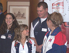 Potential Iowa Olympians Sara McCann, Shawn Johnson, Tolly Thompson and Halley Dunn talk during an event at the Iowa Capitol building.