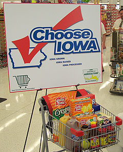 The Choose Iowa program highlights products produced or grown in Iowa.