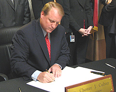 Govenor Chet Culver signs the smoking ban into law.