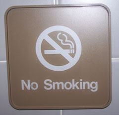 Owners of bars and restaurants are trying ot fight the need to put up no smoking signs like this one.