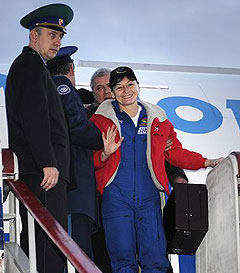Peggy Whitson in Russia after returning from space.