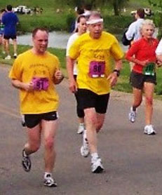 Iowa Senator Chuck Grassley (middle wearing headband) runs in Washington, D.C. race.