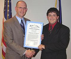 Health Department director Tom Newton and C.J. Petersen