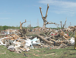 Debris in Parkersburg in the aftermath of the 2008 tornado.