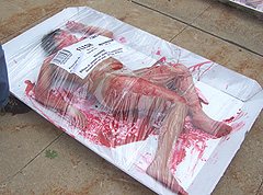 PETA protestor wrapped in plastic.