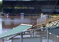 Riverfront Stadium in Waterloo was overcome by flood waters.
