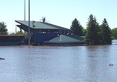 Water has overrun Riverfront Stadium in Waterloo.