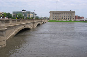 The Des Moines River is near the top of this downtown bridge in Des  Moines.
