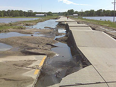 Iowa Highway 1 between Solon and Mt. Vernon was destroyed by floodwaters. (DOT photo)