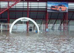 The Nodaway River flooded the Adams County Speedway earlier this month.