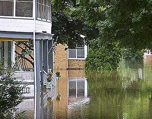 Flooded neighborhood in Cedar Rapids.