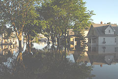 Flooded Cedar Rapids neighborhood in 2008