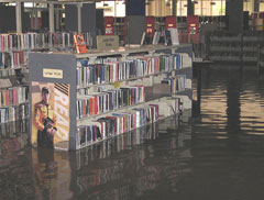 Floodwaters in Cedar Rapids Library.