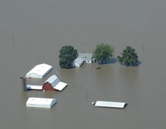 Flooded farmstead