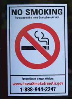 No smoking signs like this are required with the state's new smoking ban.