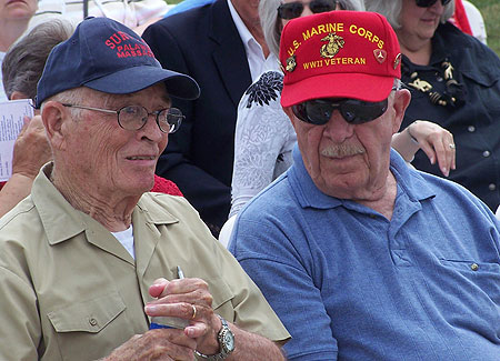Veterans Glenn McDole and Bill McNamara attended the dedication of the Iowa Veterans Cemetery.