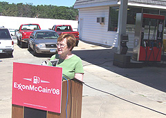 Democrat Lieutenant Governor Patty Judge  at Des Moines gas station to criticize Republican John McCain's energy policy.