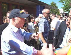 John McCain shakes hands at Iowa State Fair.