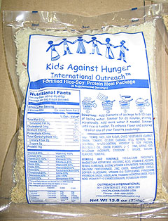 Kids Against Hunger bag of rice.