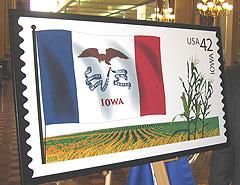 Iowa flag stamp.