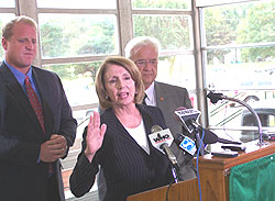 Iowa Governor Chet Culver, House Speaker Nancy Pelosi and Congressman Leonard Boswell at Des Moines North High School.