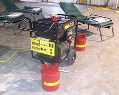 Generator foruse in emergency shelter.
