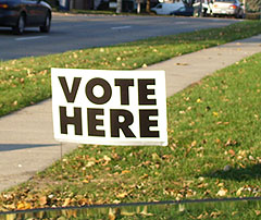 Sign outside polling place.