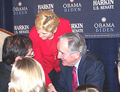 Senator Tom Harkin and his wife Ruth greet supporters after winning re-election.