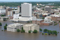 Downtown Cedar Rapids surrounded by floodwater in June.