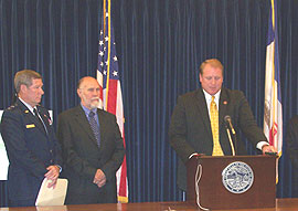 General Ron Dardis, Coralville Mayor Jim Fausett, Governor Chet Culver. (L to R)