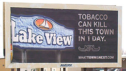 Anti tobacco sign in Lake View.